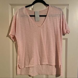Cotton light pink/white stripe v-neck t-shirt